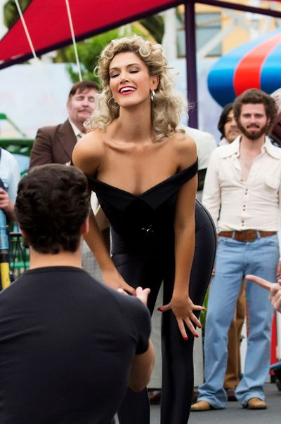 Delta Goodrem playing Olivia Newton John in the mini-series <em>Olivia: Hopelessly Devoted To You,</em> May, 2018