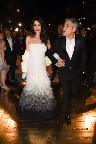 George and Amal Clooney, both in Versace, at the Cesar Dinner at Le Fouquet's in Paris, France, February, 2017