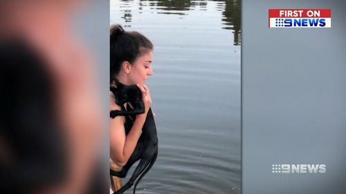 Her rescuers found a heavy power tool tied to her. (9NEWS)