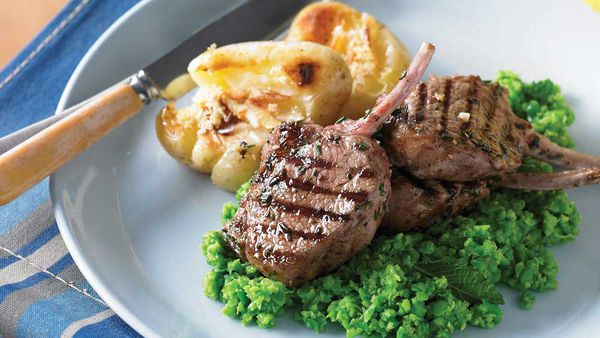 Barbecued lamb cutlets with minted pea mash and lemon potatoes courtesy of WW Freshbox
