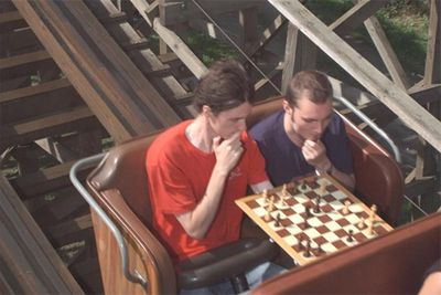 Rollercoaster Chess is all about taking two seemingly incongruous things - an amusement ride and playing chess or any board game really - and marrying them together to create one hilarious match made in heaven.