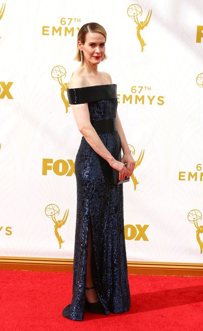 Sarah Paulson in custom Prabal Gurung and carrying a Rauwolf clutch.