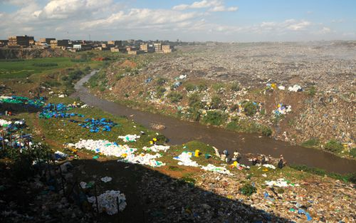 Plastic bags and other litter on the banks of a river near Mukuru slum in Kenya. Plastic bags are now banned in Kenya, with abusers facing prison or large fines. (Getty)