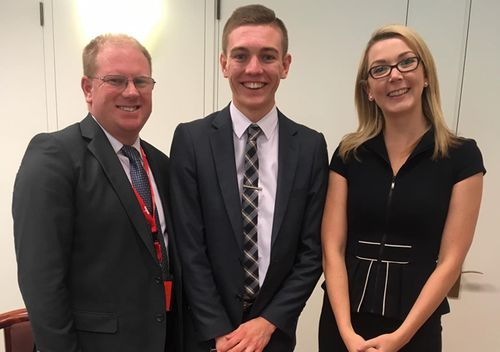 Michael and Ben (centre) Oakley meet South Australian Senator Skye Kakoschke-Moore, as they campaign for better medicinal cannabis laws in Australia. (Supplied)
