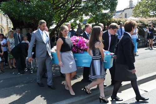 Many from the racing industry attended the funeral service for equestrian rider Olivia Inglis at St Jude's Church Randwick in 2016.