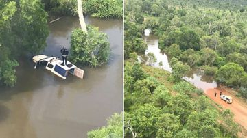 NT cop caught in floodwater has to be rescued from roof of car