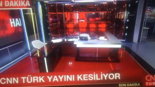CNN Turk tweeted an image of their empty studio after soldiers forced their way in. (Twitter/CNN Turk)