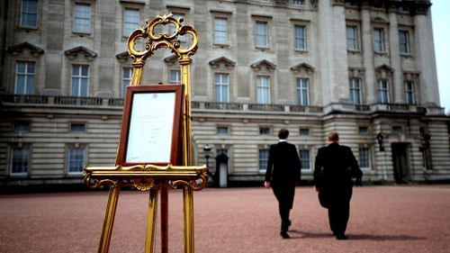 The easel at Buckingham Palace. (AAP)