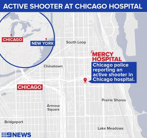 Map locating Mercy Hospital in Chicago