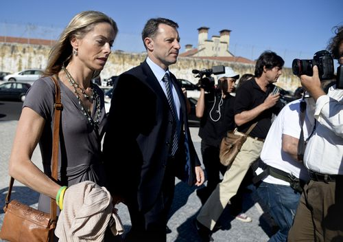 Kate and Gerry McCann arrive to the court house in Lisbon on June 16, 2014 for the closing arguments of the McCann couple's libel proceedings against former inspector Goncalo Amaral.