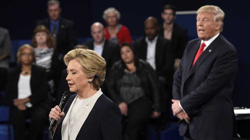 Hillary Clinton and Donald Trump in the 2016 presidential debate.