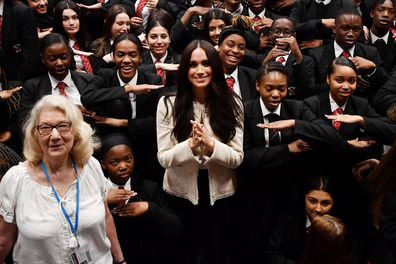 Cheeky schoolboy's comment leaves Meghan in stiches