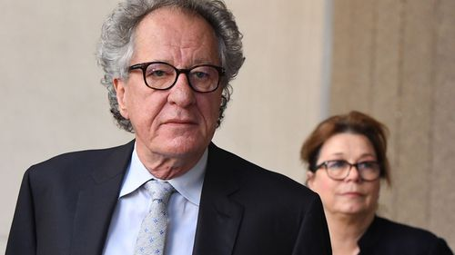 Geoffrey Rush outside court in Sydney today.
