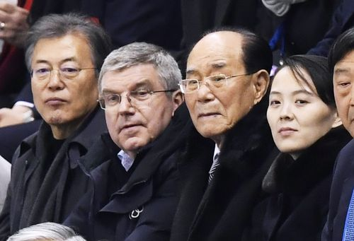 (From L) South Korea's President Moon Jae In, International Olympic Committee President Thomas Bach, Kim Yong Nam, president of the Presidium of the Supreme People's Assembly of North Korea, and Kim Yo Jong, the sister of North Korean leader Kim Jong Un. (AP)
