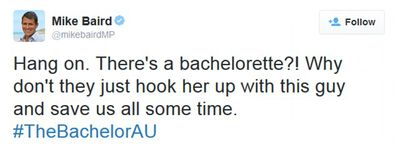 The Bachelor, NSW Premier, Mike Baird, tweets