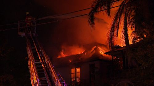 The inferno engulfed the $14 million home.