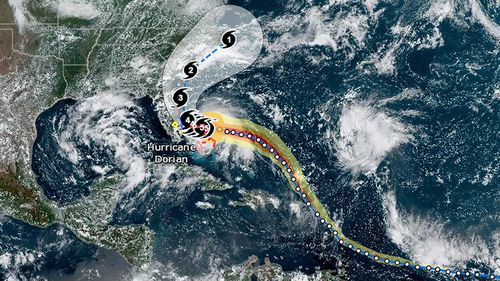 A handout photo made available by the US National Oceanic and Atmospheric Administration (NOAA) showing the track of Hurricane Dorian over the Bahamas.