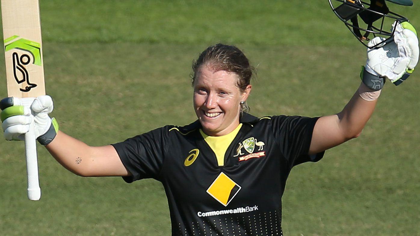 Alyssa Healy celebrates her world record T20 international score of 148.