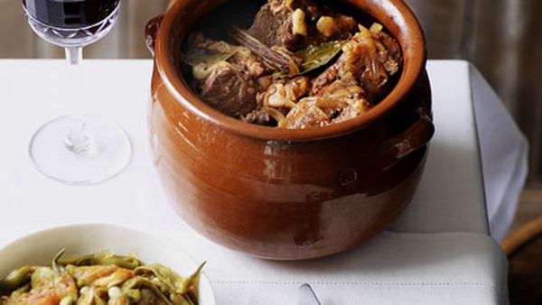 Beef alcatra with stewed runner beans