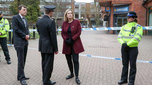 UK Home Secretary Amber Rudd visits Salisbury. (AP/AAP)