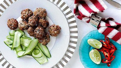 "Recipe: <a href=""http://kitchen.nine.com.au/2016/05/16/18/55/chicken-and-lime-leaf-fritters"" target=""_top"">Chicken and lime leaf fritters</a>"