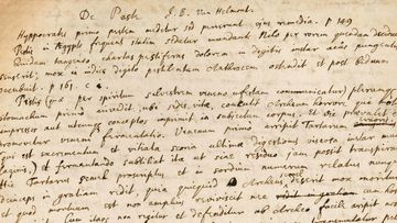 A handwritten manuscript penned by Isaac Newton, about toad vomit lozenges and the black plague.
