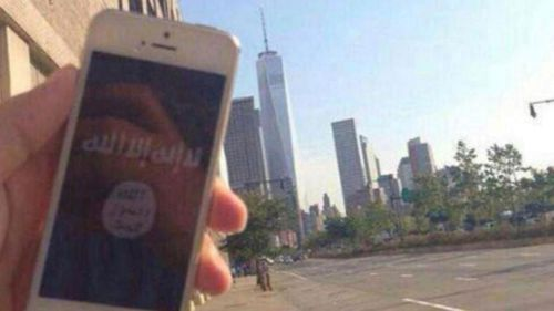 This phone with an ISIS logo on it was pictured near One World Trade Center.