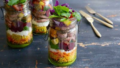 "Recipe:<a href=""http://kitchen.nine.com.au/2016/08/25/14/42/sirloin-salad-jar"" target=""_top"" draggable=""false"">Jacqueline Alwill's sirloin salad jar</a>"