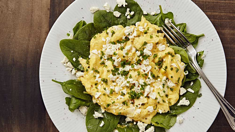 Tim Robard's feta scrambled eggs