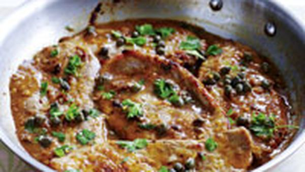 Veal with lemon and caper sauce
