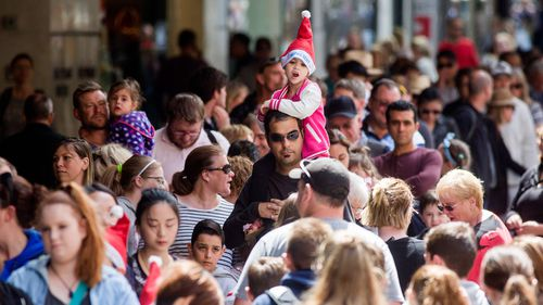Christmas shoppers in Melbourne.
