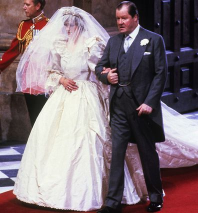 Princess Diana with her father Earl Spencer on her wedding day in 1981.