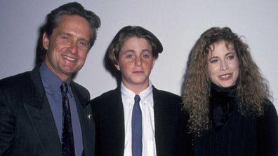 Michael Douglas, Cameron Douglas, and Diandra Douglas in 1993.