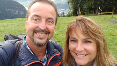 Chris Gursky and his wife Gail, about to embark on their second hang gliding experience.