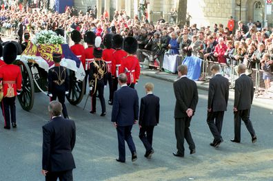 Prince Charles, Prince Harry, Earl Spencer, Prince William and Prince Philip, Duke of Edinburgh, follow the coffin of Diana The Princess of Wales towards Westminster Abbey for her funeral service on 06 September 1997.
