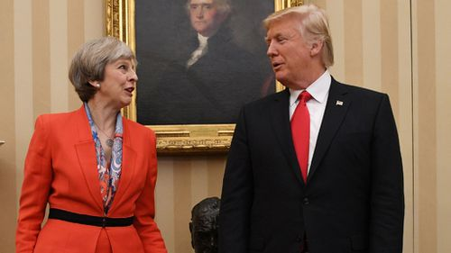 British Prime Minister Theresa May and Mr Trump meet. (AAP)