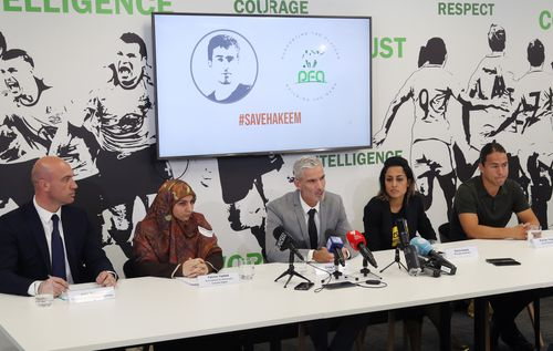 Professional Footballers Australia Chief Executive John Didulica, Fatima Yazbek from the Gulf Institute for Democracy and Human Rights, former Socceroo Craig Foster, Diana Sayed from Amnisty International and former Socceroo Rodrigo Vargas speak to media at the weekend.