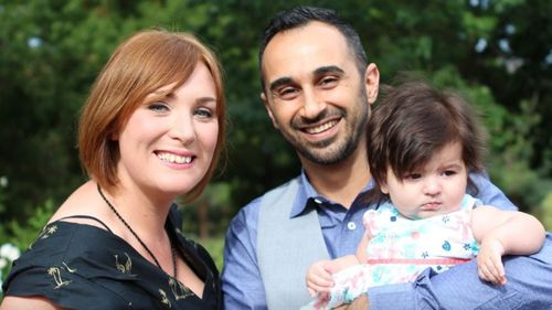Mrs Kucuk, pictured with her husband Fatih and Zoe, needs and emergency heart transplant.