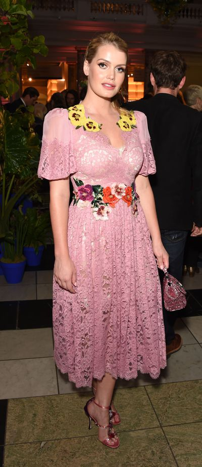 Kitty Spencer in Dolce & Gabanna at a private viewing of <em>Frida Kahlo: Making Her Self Up</em> in London, June, 2018