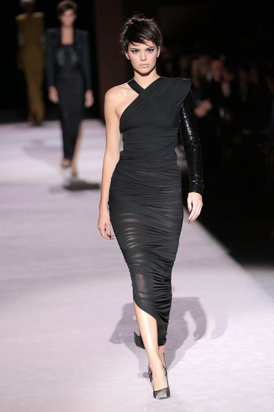 Kendall Jenner on the runway at Tom Ford, ready-to-wear, spring '18, New York Fashion Week