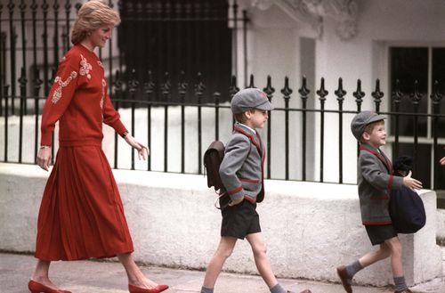 Princess Diana, in 1989, escorts her sons William and Harry to school. (AAP)