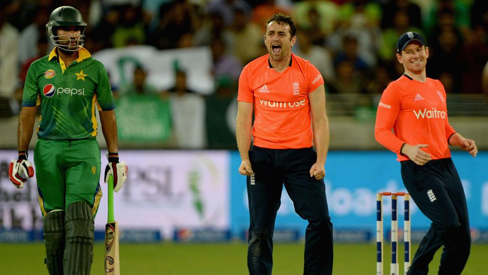 England's Stephen Parry celebrates a wicket in their T20 win over Pakistan. (Getty)