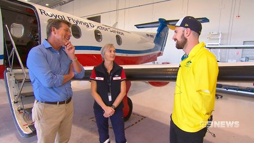 This is the first time Sean was able to be reunited with the Royal Flying Doctor crew. (9NEWS)