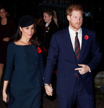 The Duke and Duchess of Sussex attend Remembrance Day service at Westminster Abbey in 2018.