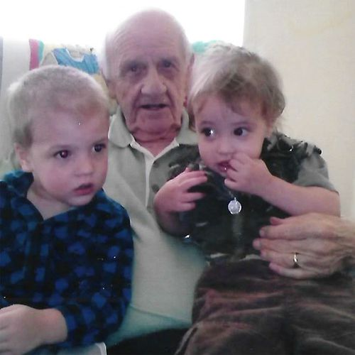 Mr Cooper with his grandchildren Caleb (left) and Emma-Lee.