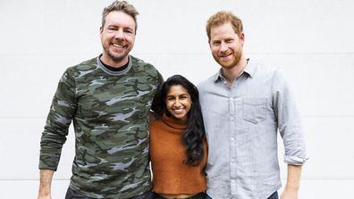 Armchair Expert Podcast co-hosts Dax Shepard and Monica Padman with Prince Harry