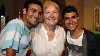 Moira Kelly (centre) with her children Ahmed (left) and Emmanuel Kelly (right) January 2012