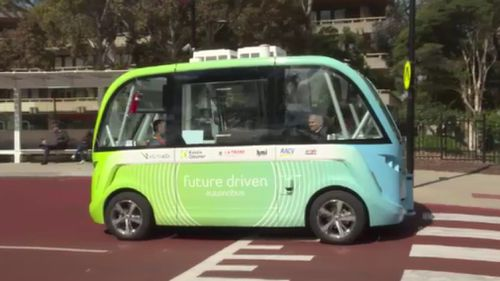The autonomous bus can reach speeds of up to 50km/hr. (9NEWS)
