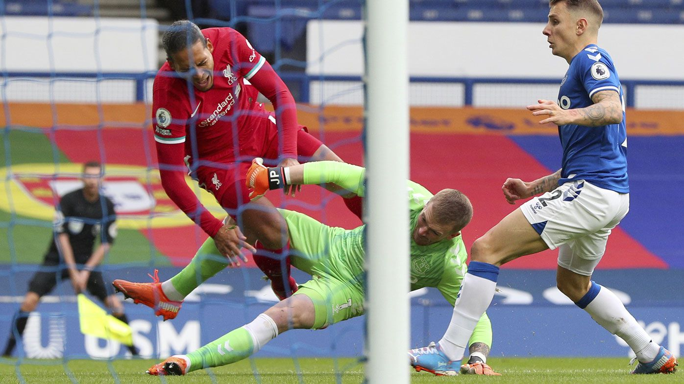 VAR, Virgil van Dijk injury frustrates Liverpool in derby draw with unbeaten Everton