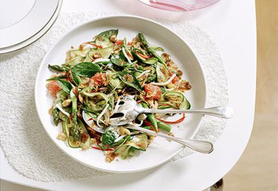 Ruby grapefruit, asparagus, cashew and coconut salad with chilli jam
